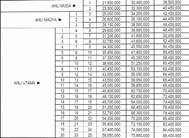 tabel biaya tenaga ahli